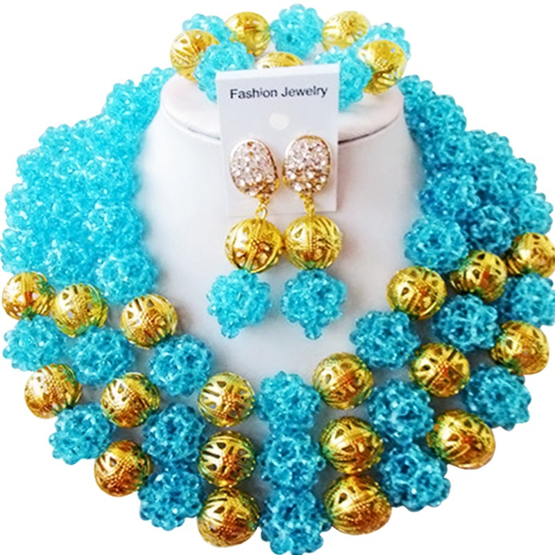 цена Characteristic Lake Blue African Style Engagement Crystal Necklace Jewelry Set for Lover 3C-SJXJS-12 онлайн в 2017 году