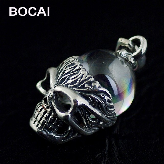 Sterling Silver Skull Pendants S925 sterling silver white crystal ball thai silver skull pendant in s925 sterling silver white crystal ball thai silver skull pendant audiocablefo
