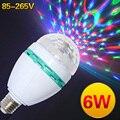 DJ RGB 6 Вт ПРИВЕЛО E27 Красочные Изменение Свет Лампы AC85-265V 16 цветов Автоматический Вращая для праздника освещения/КТВ Украшения