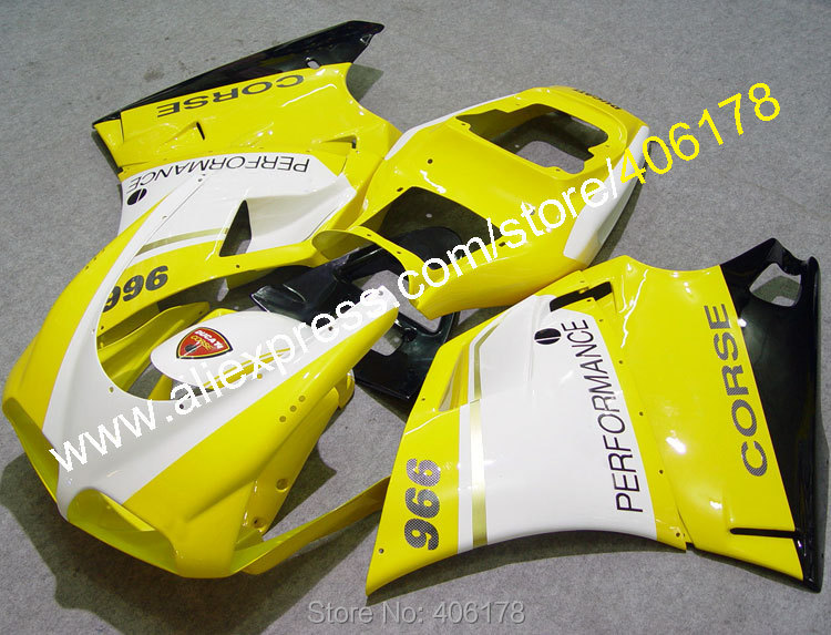 Hot Sales,For DUCATI 748 916 996 998 1996-2002 96-02 Yellow white corse Motobike Motorcycle Fairing (Injection molding)