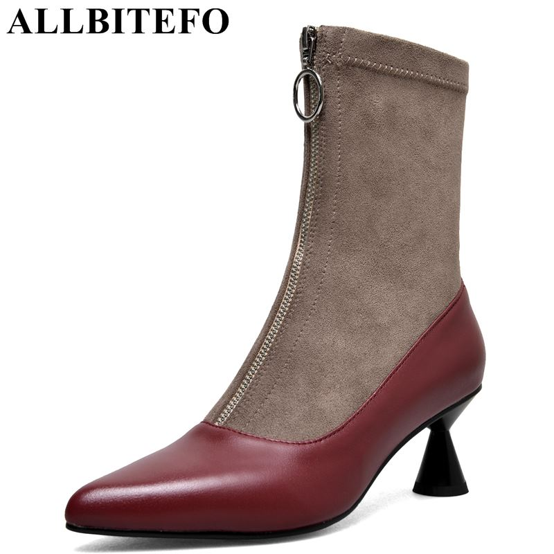 ALLBITEFO fashion genuine leather+elastic flock high heel women boots ladies pointed toe sexy motocycle boots Autumn ankle boots стоимость