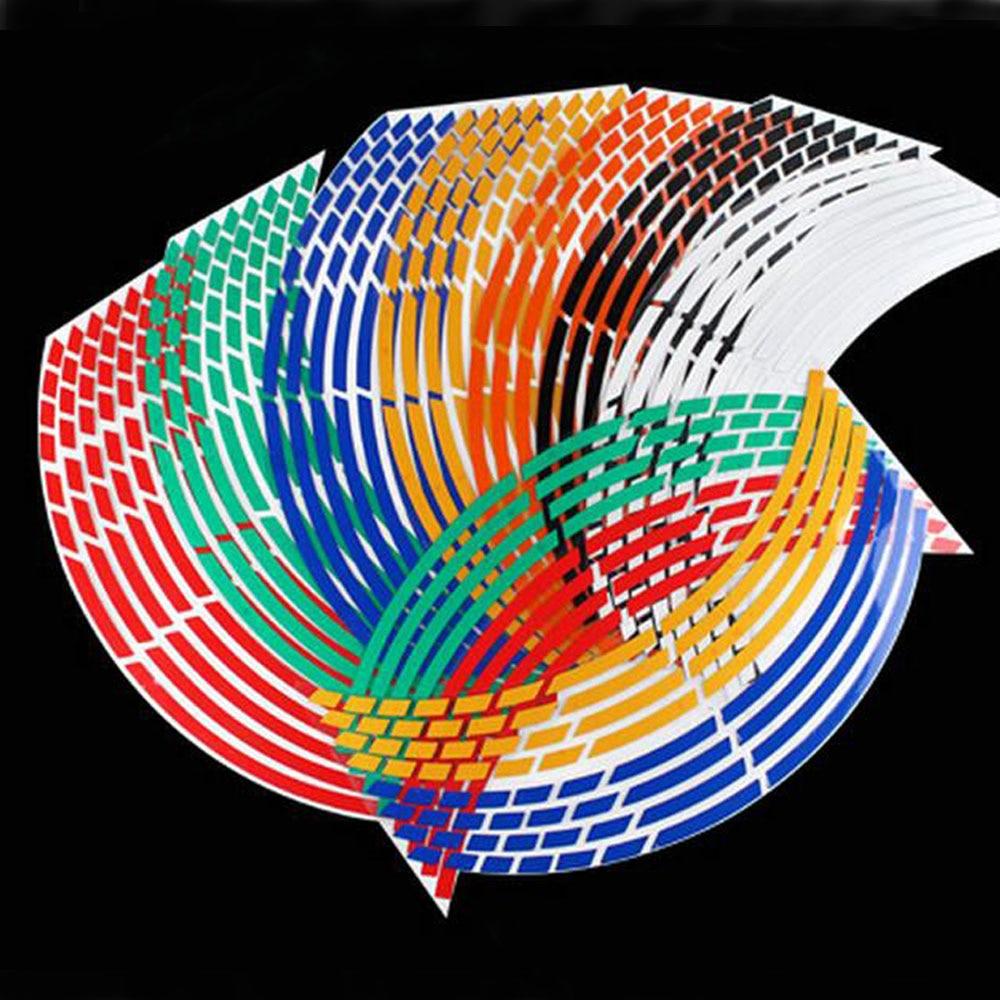 16 полосы мотоцикл аксессуары 5 цветов 17 или 18 дюймов колеса автомобиля наклейки наклейка останова обод светоотражающие ленты для Kawasaki