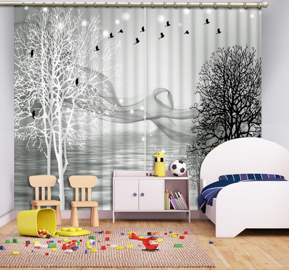 Black And White Living Room Curtains Simple Tree Window Blackout Curtain  The Bedroom Curtains Fabric Polyester