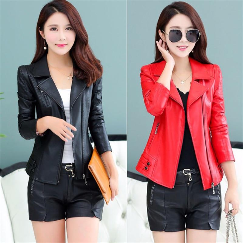 Veste Nouvelle Femmes Black Automne Mode Pu En Grande Élégante Printemps De Tcyeek 6xl Manteau Vêtements Taille Cuir Lwl462 red Vestes Dames 2019 Fp7Sq