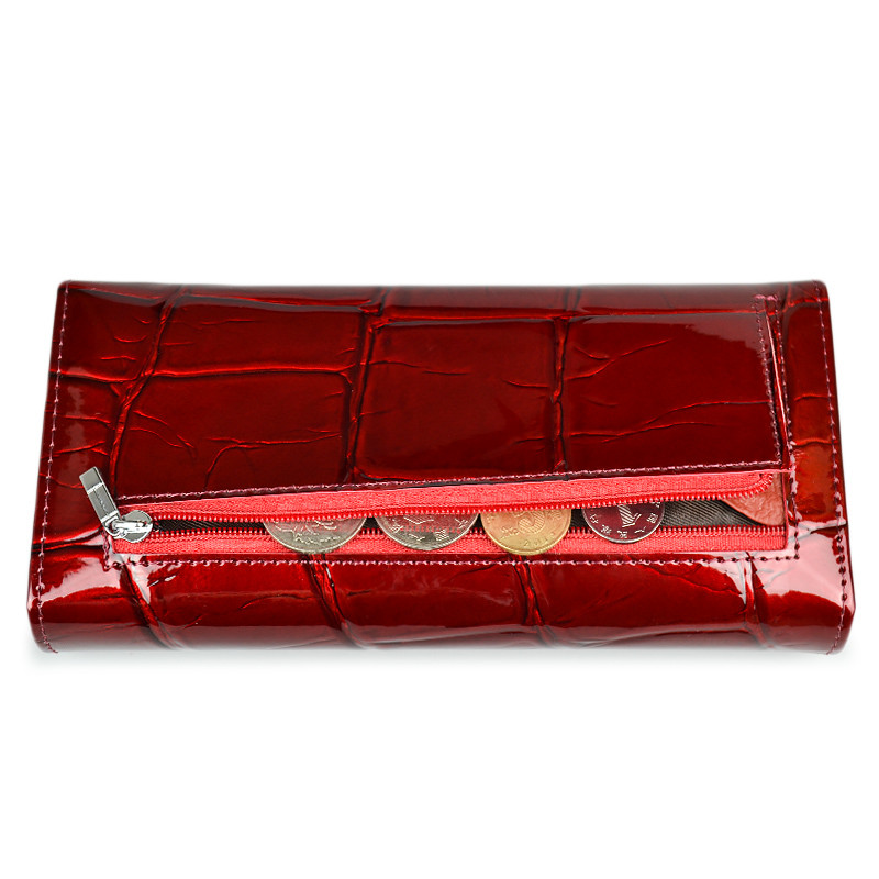 HH Women Wallet and Purse Stone Genuine Leather Womens Wallets Ladies Clutch Bag New Female Luxury Brand Hasp Long Purses in Wallets from Luggage Bags