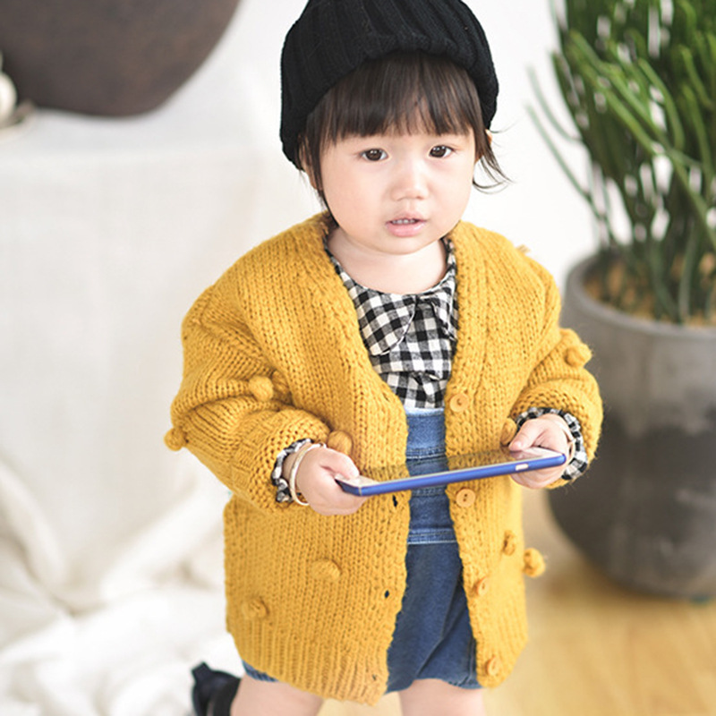 c83f7eea6 Newborn Baby Sweaters for Girls Cardigans Fashion Dots Knitted ...