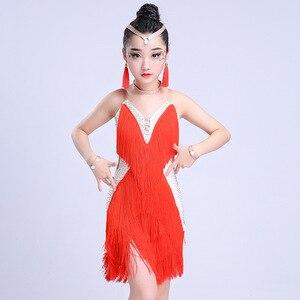 Image 2 - Детская Юбка для латиноамериканских танцев, юбка с бахромой для соревнований по Латиноамериканскому танцу, 2018