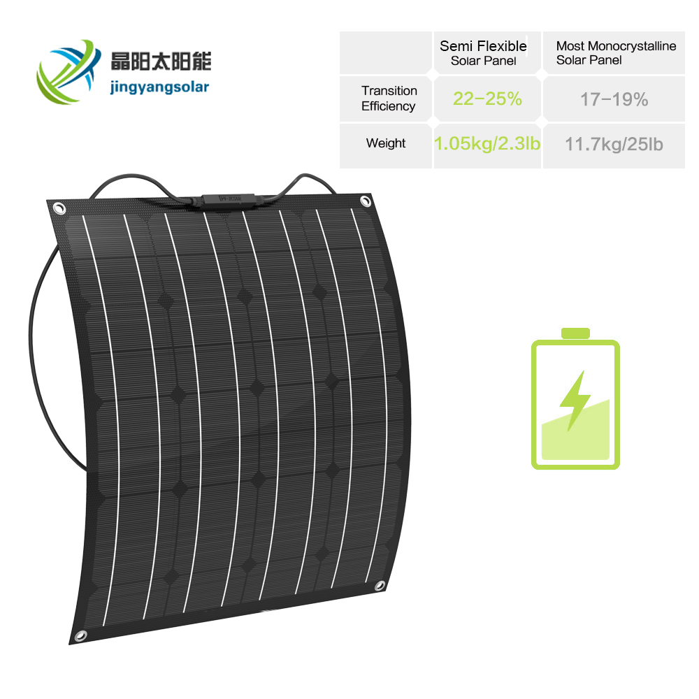 1pcs 50W ETFE Flexible solar panel 12V mono crystalline solar cell china cheap solar panel cell system kit for marine, RV, image