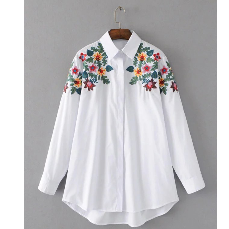 2017 Women Spring Floral Embroidery Blouses Shirts Black