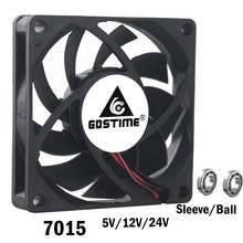 2pcs Gdstime 7cm 70mm 7015 DC 5V 12V 24V 2Pin 2Wire 70x70x15mm PC Laptop Computer Industrial Cooling Fan Sleeve Ball Bearing