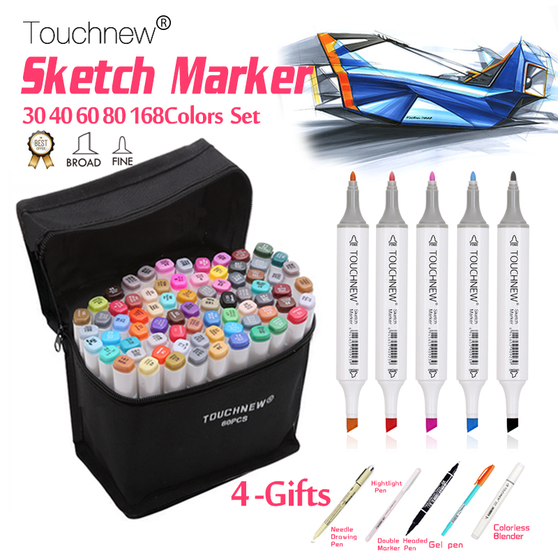 TOUCHNEW 30/40/60/80/168 Colors Sketch Markers Pen Alcohol Based Brush Marker Set Best For Drawing Manga Animation Art supplies touchnew 36 48 60 72 168colors dual head art markers alcohol based sketch marker pen for drawing manga design supplies