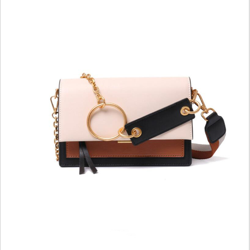 European and American designers contrast color ring organ leather bag for women and cowhide bag for women qq172European and American designers contrast color ring organ leather bag for women and cowhide bag for women qq172