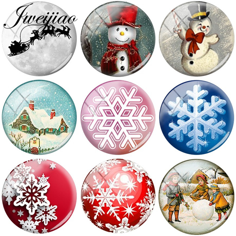 цена на JWEIJIAO Snowman Snowflake Art Picture DIY Glass Cabochon & Glass Dome Charms For Bracelets Necklace Earrings Christmas gift