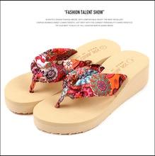2016 Verão flor boemia Mulheres flip flops cunhas plataforma sandálias plataforma aleta sapatos chinelos de praia(China (Mainland))