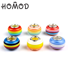 HOMOD 20pcs Mixed Beads Fits Pandora Fit Brand Charms Rainbow glass DIY Spacer Jewelry Making