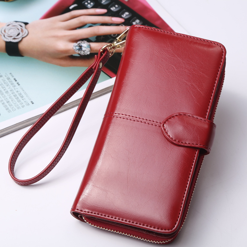 Hot Selling Many Departments Women Wallet High Quality Wristlet Clutch Wallet Female Card Holder Leather Ladies Long Purses 5