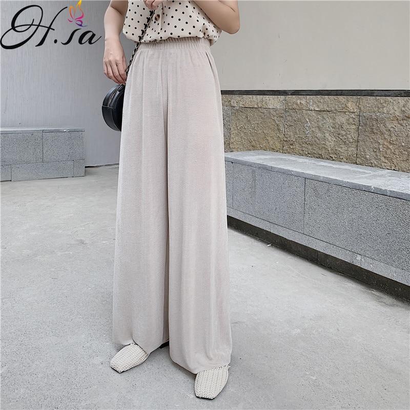 H.SA Women   Wide     Leg     Pants   2019 Spring Summer High Waist Leggings Chic Steetwear Loose   Pants   Pleated Korean   Wide     Leg   Trousers