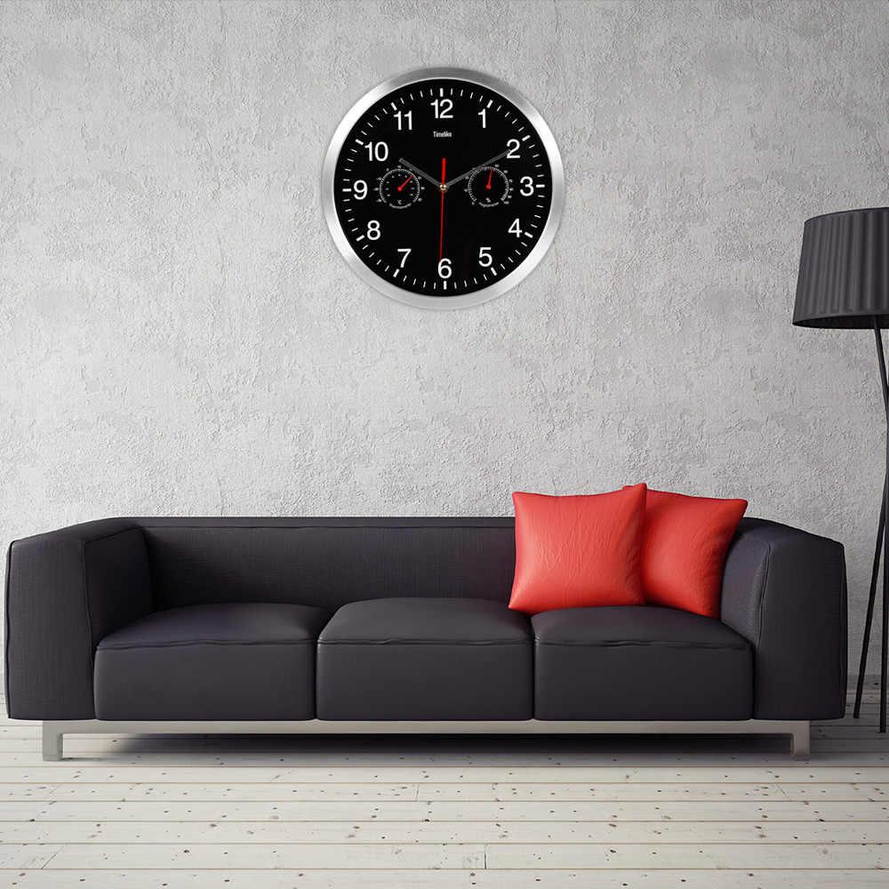Reloj de pared de cuarzo silencioso de Metal 2019, termómetro de movimiento de barrido silencioso, higrómetro, decoración del arte del hogar, nuevo diseño, caliente