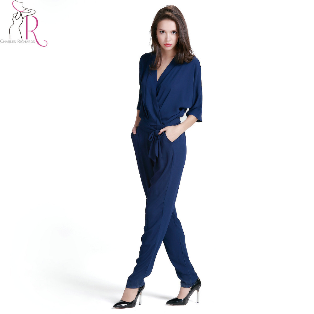 Women Sleevless Lace Trim V Neck Jumpsuits Waist Tie with Pockets