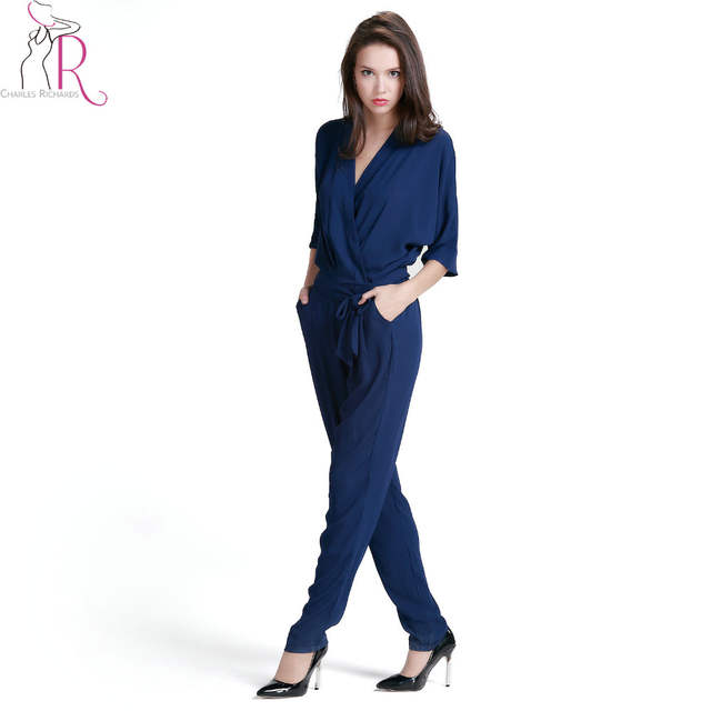 1ce8dd933e92d Navy Blue V Neck Wrap Tie Waist Jumpsuit Women Half Sleeve Pockets ...