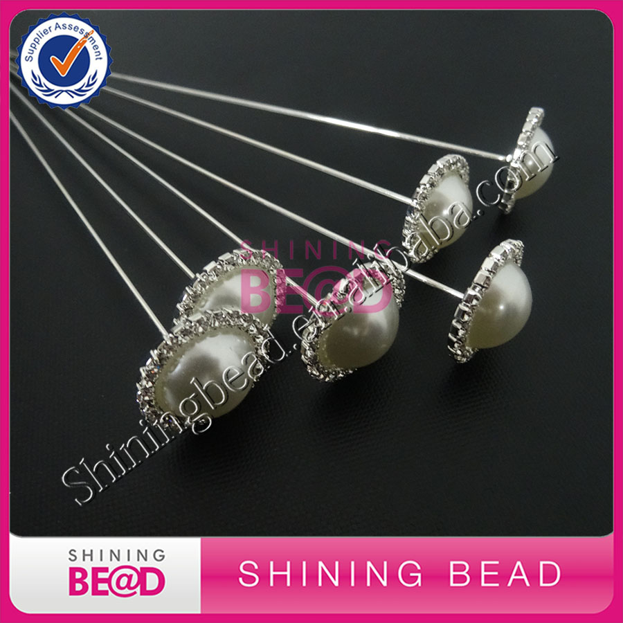 Free Shipping,Sparkling rhinestone pins on silver stem sprays for Bouquet,hot selling round pearl rhinestone brooch pins,50pcs