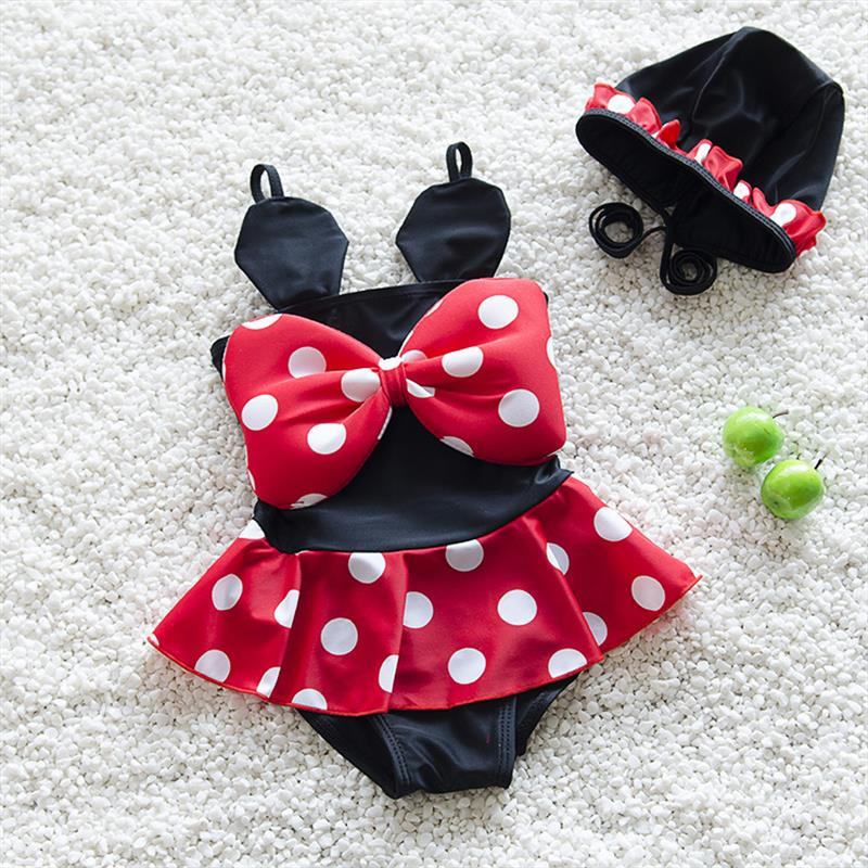 цена на New Lovely Dots Kids Swimsuit Quality Girls Swimwear Teenagers One-pieces Black Red Bath Suit Infant Children Beachwear 2-7years