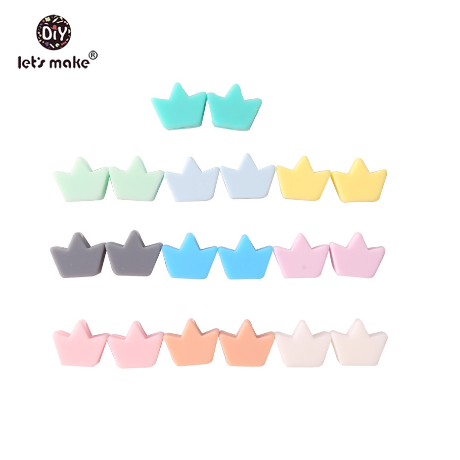 Let's Make Baby Teether 10pc Mini Crown Perle Silicone Beads DIY Pacifier Chain Baby Nursing Accessories Teething Necklace Toys