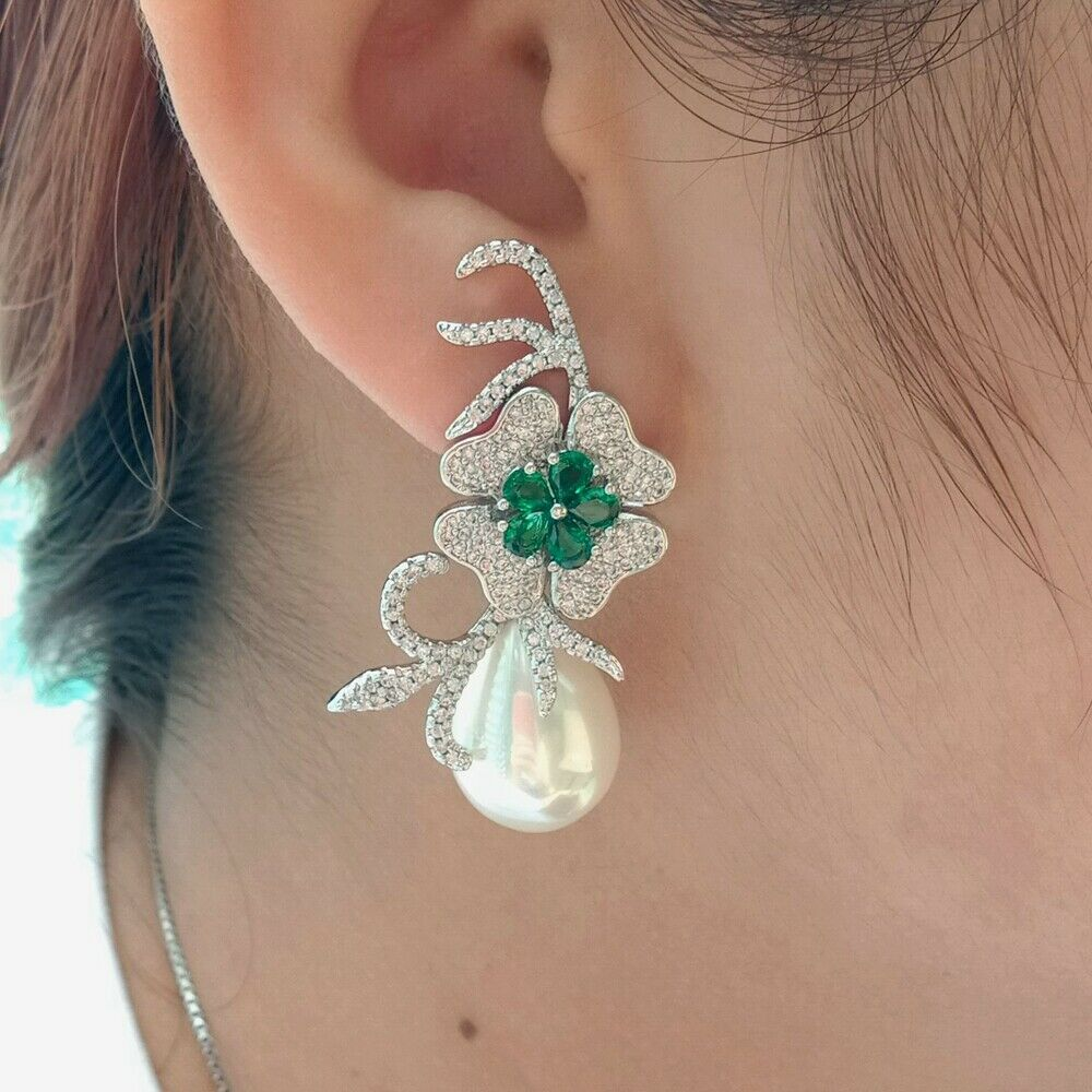 Teardrop Green White Sea Shell Pearl Cz Pave Flower EarringsTeardrop Green White Sea Shell Pearl Cz Pave Flower Earrings