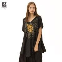 Контур оригинальный дизайн Национальный стиль женский, черный лето Повседневное Топы цветочный узор вышивки пуловер рубашки с v образным в