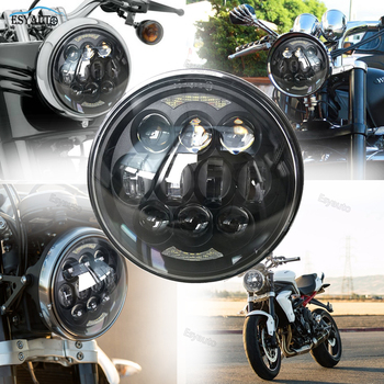 """Black LED 80W Chips 5-3/4""""Headlamp 5.75"""" Round LED Projection Headlight for Motorcycles"""