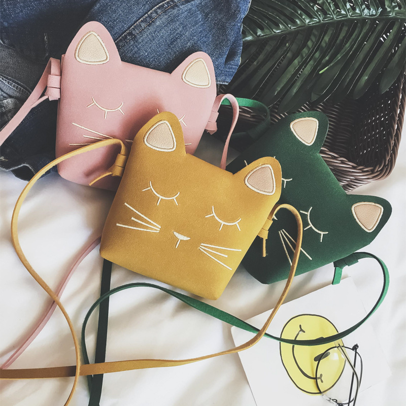 2019 New Children's Coin Purse Baby Cat Mini Shoulder Bag Cute Princess Messenger Bags Faux Suede Small Bags For Kids Girl