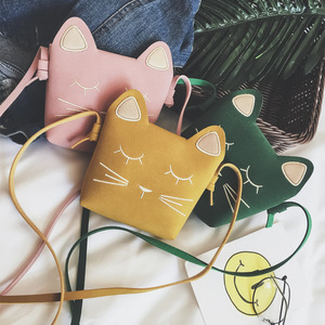 2019 Nieuwe Kinderen Portemonnee Kindje Kat Mini Schoudertas Leuke Prinses Messenger Bags Faux Suede Kleine Tassen Voor kids Meisje(China)