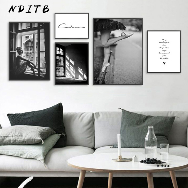 Us 2 98 48 Off Abstract Girl Canvas Fashion Poster Black White Wall Art Print Painting Nordic Decoration Picture Scandinavian Home Decor In Painting