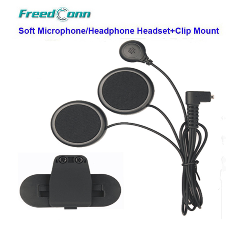 цена на Freedconn T-COMVB TCOM-SC FDC-01VB Soft Wire Motorcycle Bluetooth Helmet Interphone Soft Microphone/Headphone Headset+Clip Mount
