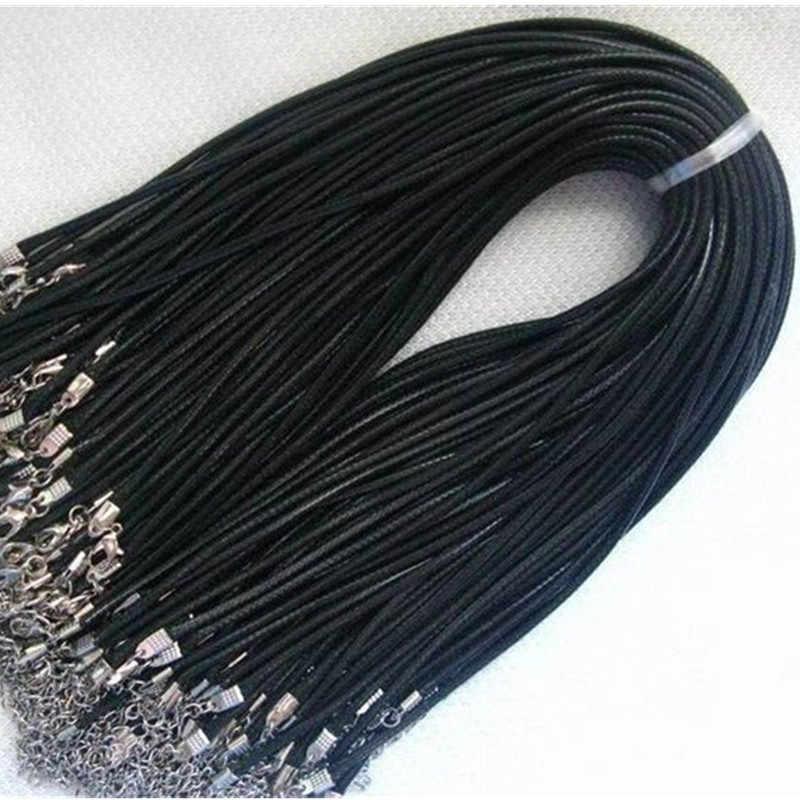 ถักเชือก 2mm สีดำ PU หนังสายโซ่สร้อยคอเงิน String เชือกผู้ชายผู้หญิง gargantilha คุณภาพสูง