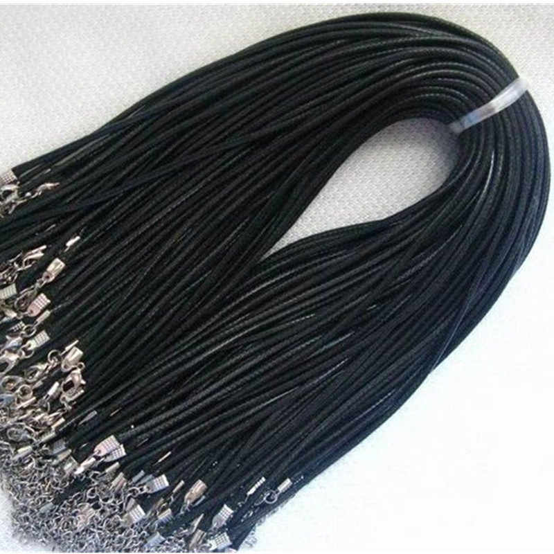 Skręcony pleciony sznur 2mm czarny PU Leather Cord naszyjnik łańcuch srebrna zapinka String liny mężczyźni kobiety gargantilha wysokiej jakości