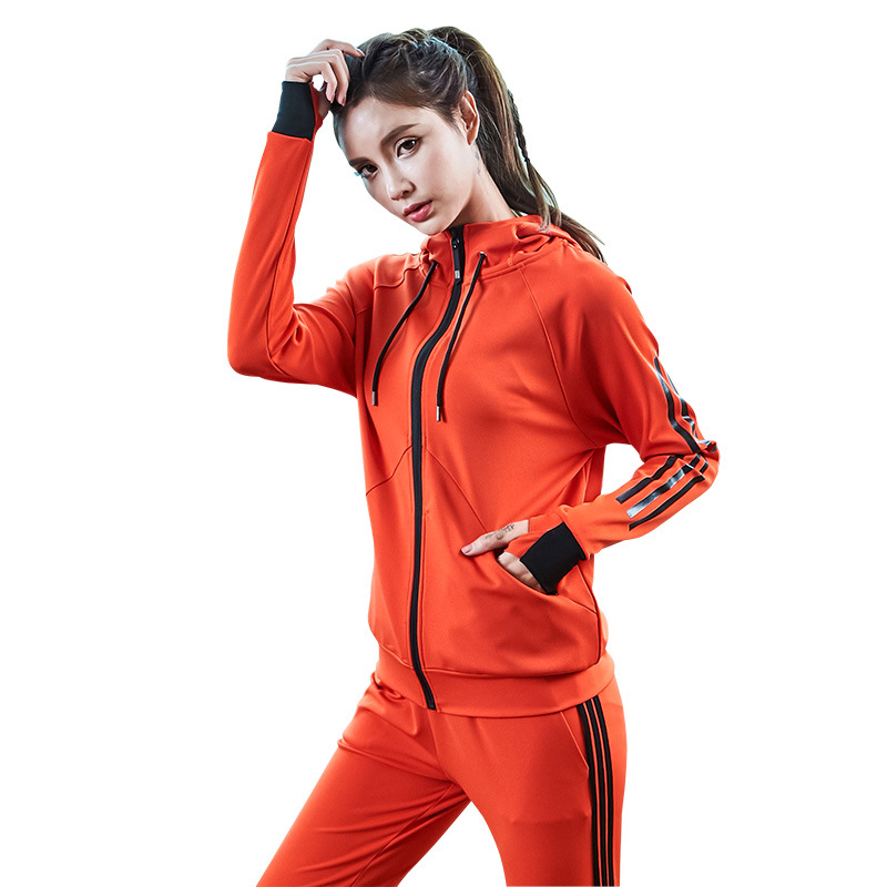 spring women sportswear tracksuit zip up hooded jacket sweatshirt+pants running jogging casual fitness gym outfit set sport suit 5