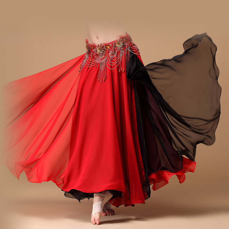 Hot Sale 2017 Contrast Colors Women Belly Dance Skirts -5700