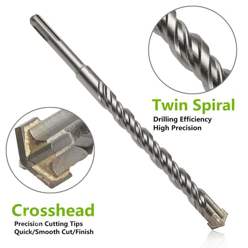 цена на 210mm 6/8/10/12/14/16mm Mini SDS Plus Crosshead Twist Spiral Hammer Drill Bit Set Power Tools Model Craft Repair Parts