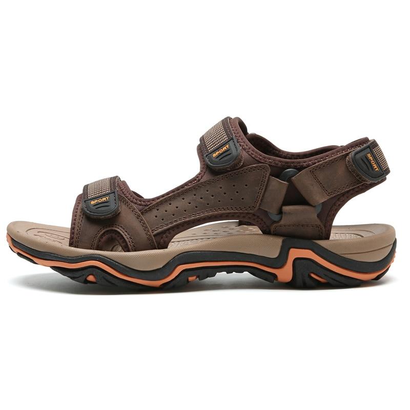LINGGE/сандалии из натуральной кожи; Мужская Летняя обувь; пляжные сандалии; качественные мужские шлепанцы; большие размеры 39-45;#2628 - Цвет: dark brown