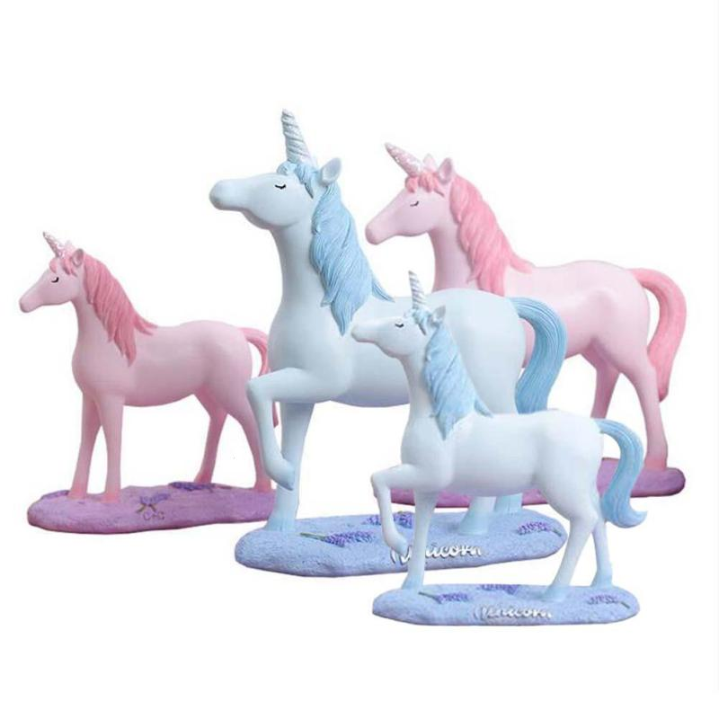 Cute Unicorn Home Decoration Ornament Horse With Single Horn Resin Crafts Desktop Ornaments Modern Decorations #20