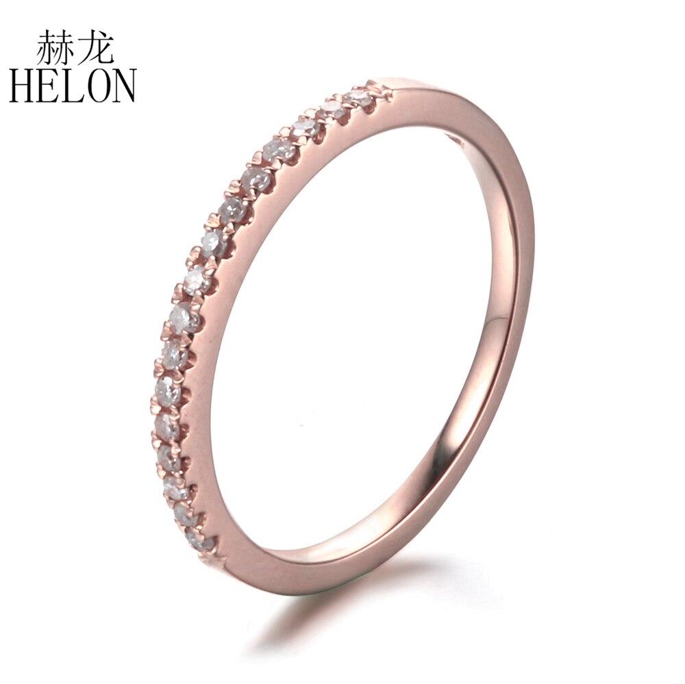 HELON solide 10 k or Rose Pave 0.2ct diamants naturels mariage bague de fiançailles diamants anniversaire femmes bijoux bague