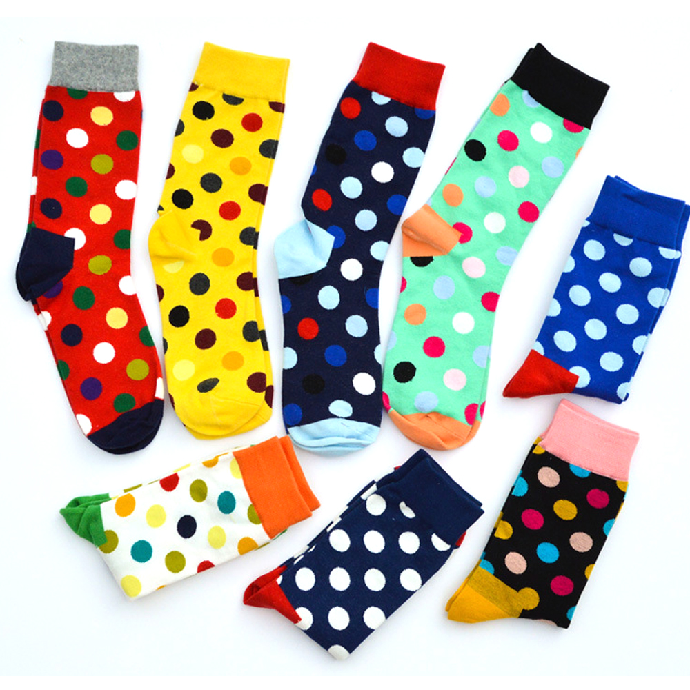 New fashion cotton socks Male Tide Brand Dots Four seasons Style wedding sock Mens Knee High Business Socks man socks 6 pairs