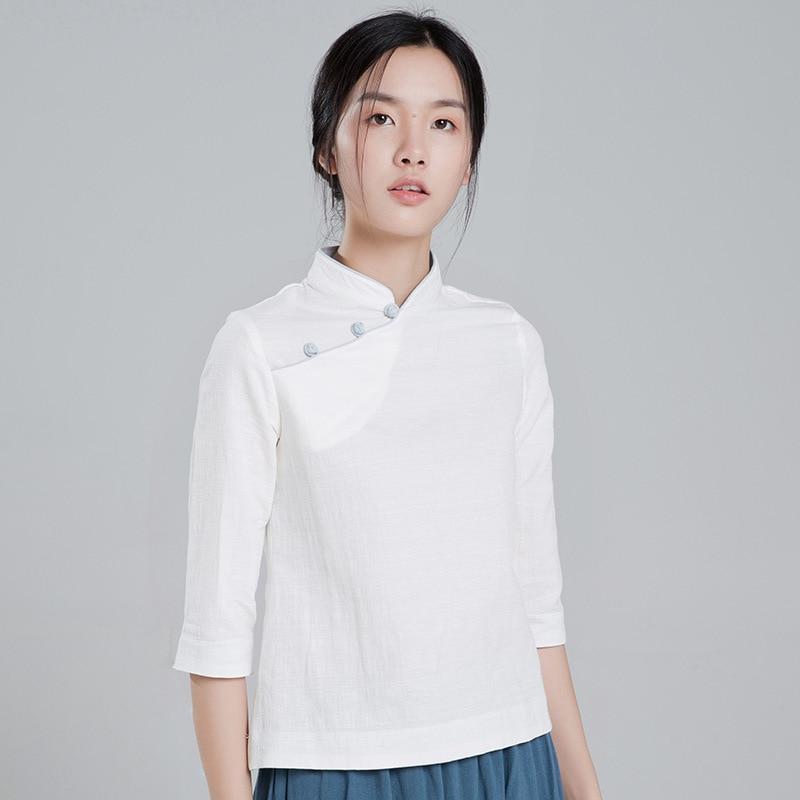 Thé dames coton Blouses Cheongsam Style col montant plaque boutons chinois vêtements thé Service
