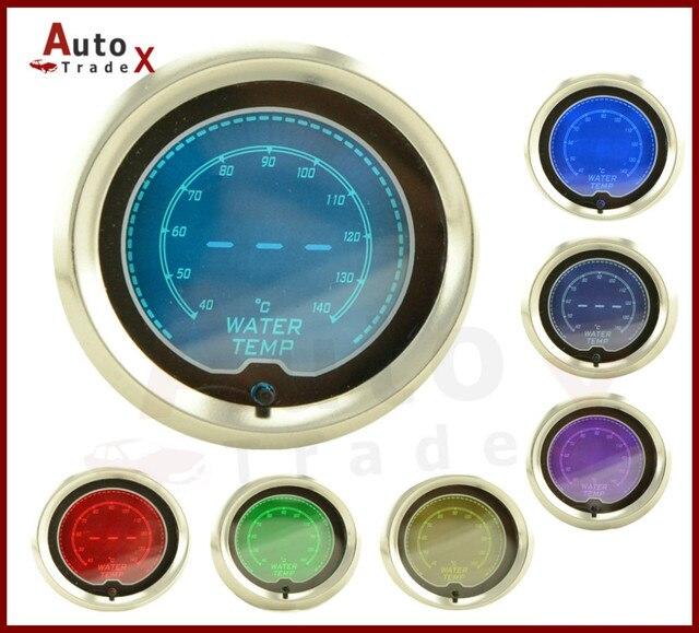 "2"" 52mm 7 COLOR LCD Digital Water Temp Gauge 40-140C With Sensor"
