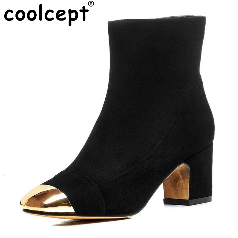 New Fashion Woman Real Genuine Leather Half Short Boots Women Meatal Head Square Heel Botas Woman Heels Shoes Size 33-40