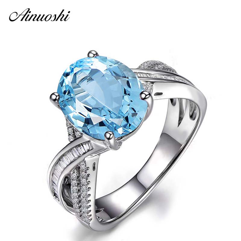 AINUOSHI 4 Carat Big Oval Cut 4 Prong Solitaire Ring 925 Sterling Silver Sky Blue Natural