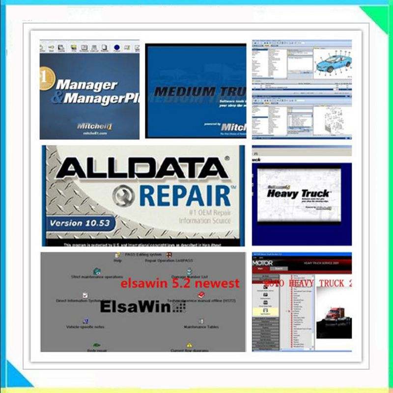 Alldata 2018 New Arrival 10.53V Alldata and Mitchell ondemand Software work on windows 7/8 ect 16 softwares in 1tb usb harddisk