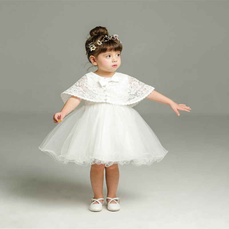 2Pcs One Year Birthday Baby Girl Baptism Dresses Infant Princess Lace Wedding Dress Christening Gown Newborn Toddler Clothes