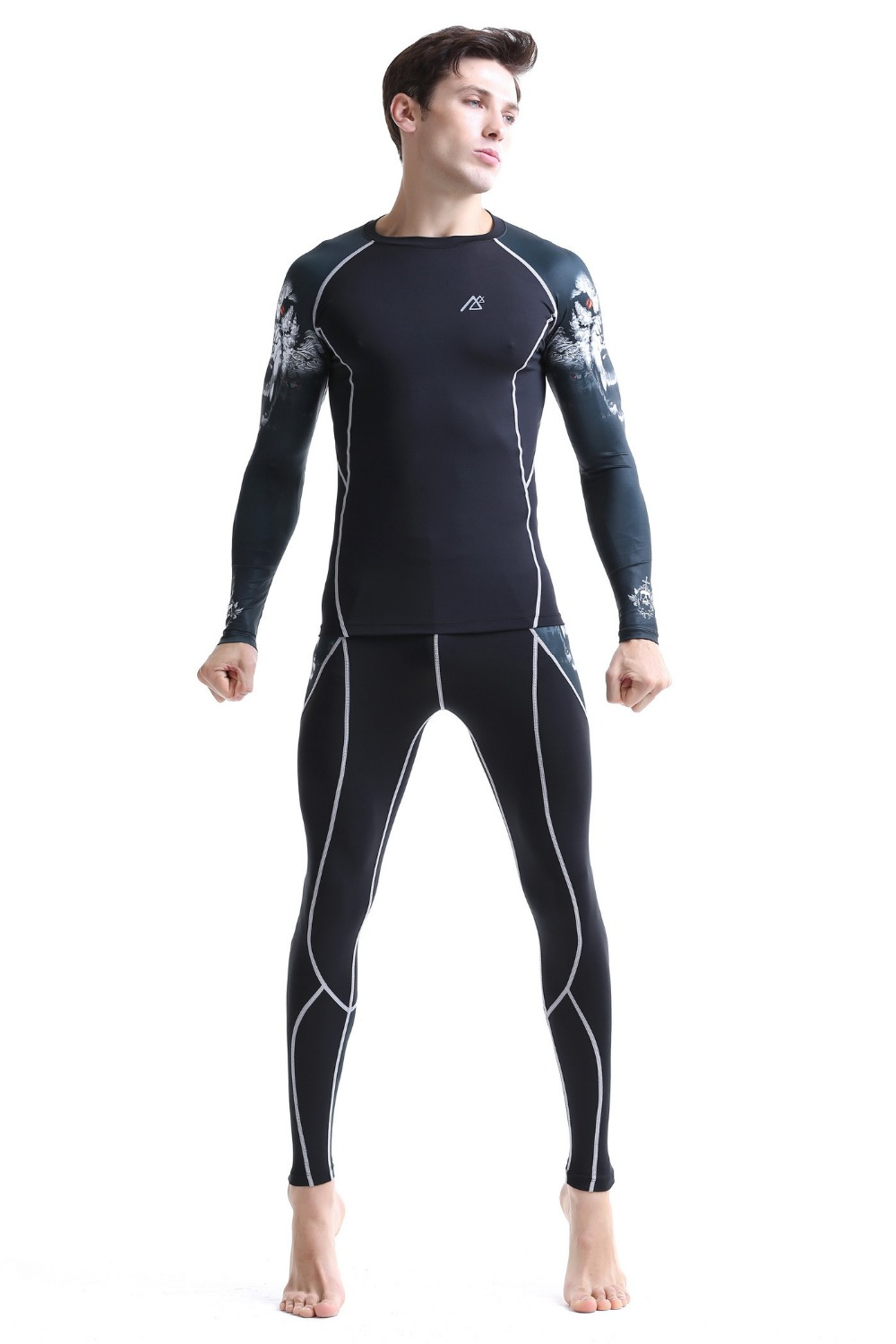 plus size best mens suit riding animals runnings sets suits tiger head long sleeve+training pant size s-4xl